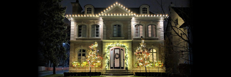 Lawrence Park complete Christmas light installation canopy wrap shrub & fascia lighting